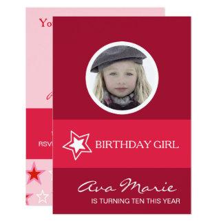 Photo de fille d'anniversaire d'étoile carton d'invitation 8,89 cm x 12,70 cm