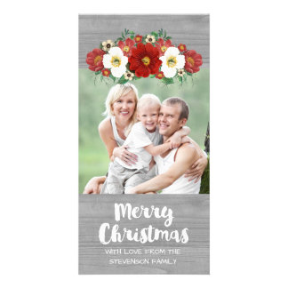 Photo en bois grise florale blanche rouge de cartes de vœux avec photo