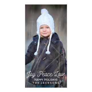 Photo en lettres de vacances d'amour de paix de photocarte customisée