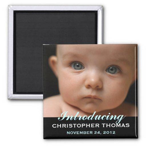 Photo moderne de faire-part de naissance de bébé d magnet carré