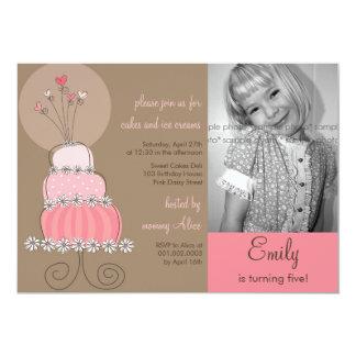 Photo rose douce Invitati de fête d'anniversaire Carton D'invitation 12,7 Cm X 17,78 Cm