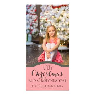 Photo rose propre simple de vacances de Noël Cartes Avec Photo