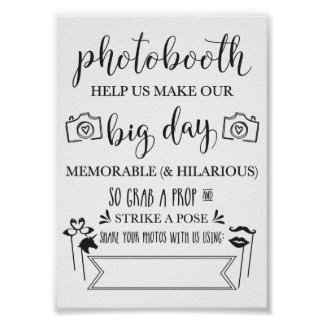 Photobooth Hashtag Hochzeits-Party Sign-5x7 Poster