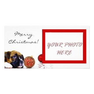 Photocard de chiot de boxeur de Joyeux Noël Carte Avec Photo