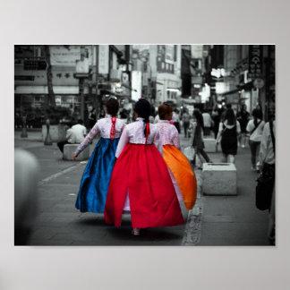 photographie coréenne de fille de tradional poster