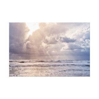 Photography Canvas Print - Stormy beach sunrise Leinwanddruck