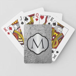 Photorealistic silbernes Grau-Metall mit Monogramm Spielkarten