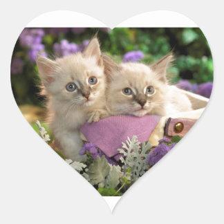 Piaulement espiègle de chatons hors d'un panier de sticker cœur
