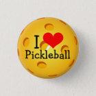 Pickleball Miniknopf: I Liebe Pickleball Runder Button 3,2 Cm