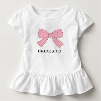 Pièce en t de ruche de partie de bébé de rose de t-shirt pour les tous petits