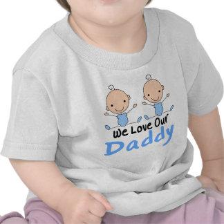 Pièce en t jumelle de nourrisson de papa d'amour t-shirts