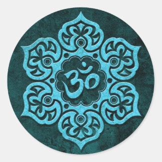 Pierre bleue OM floral Autocollant Rond