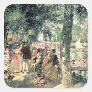 Pierre ein Renoir  , das auf der Seine badet Quadratischer Aufkleber