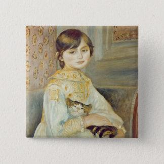 Pierre ein Renoir   Julie Manet mit Katze Quadratischer Button 5,1 Cm