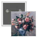 Pierre un vase à Renoir | de roses Badge Carré 5 Cm