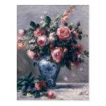 Pierre un vase à Renoir | de roses Cartes Postales