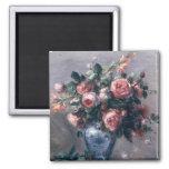 Pierre un vase à Renoir | de roses Magnet Carré