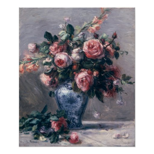 Pierre un vase à Renoir | de roses Poster