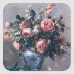 Pierre un vase à Renoir | de roses Sticker Carré