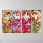 Pierres précieuses et fleurs, Alphonse Mucha Posters