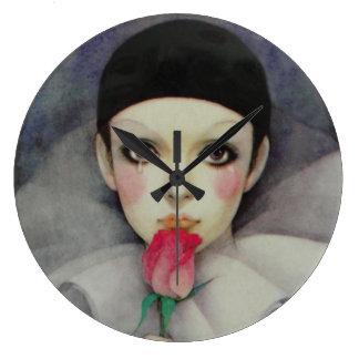 Pierrot Achtzigerjahre Große Wanduhr