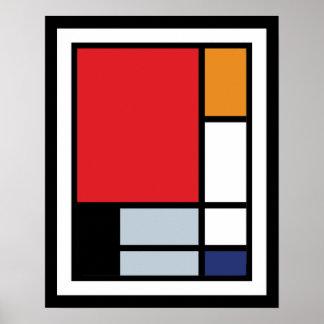 Piet Mondrian - Zusammensetzung mit großem rotem Poster