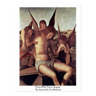 Pieta mit drei Engeln durch Antonello DA Messina Postkarte