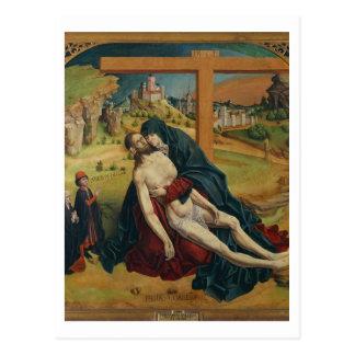 Pieta mit zwei Spendern (Öl auf Platte) Postkarte