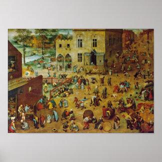 Pieter Bruegel das Älteste - die Spiele der Kinder Poster