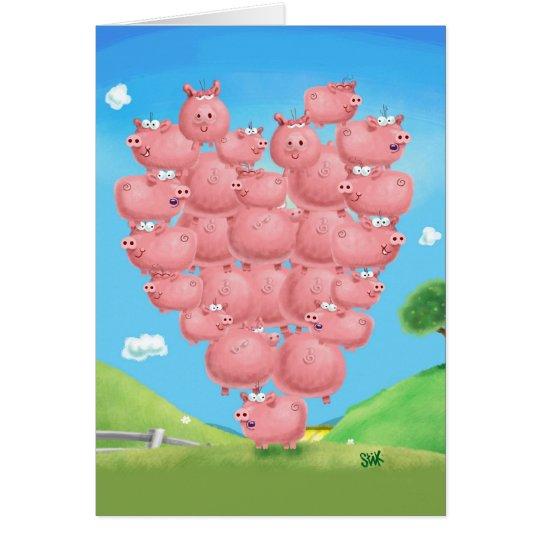 Piggy Liebe Grußkarte