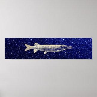 Pike-Jack-Fisch-metallische Foxier Goldblau-Marine Poster