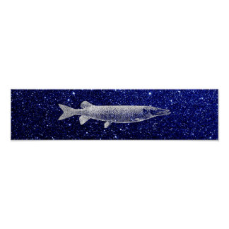 Pike-Jack-Fisch-metallische silbernes Poster