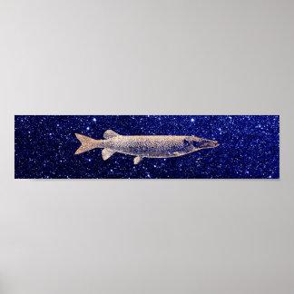 Pike-Jack-Fische erröten metallische rosa Poster