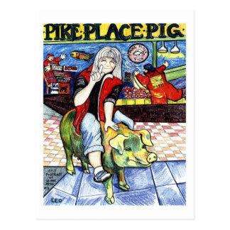 Pike-Platz-Schwein Postkarte