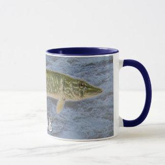 Pikefrischwasserfische, mit Wasser-Hintergrund Tasse