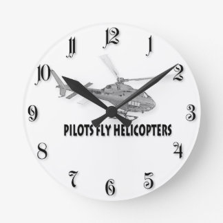 Piloten fliegen Hubschrauber Runde Wanduhr