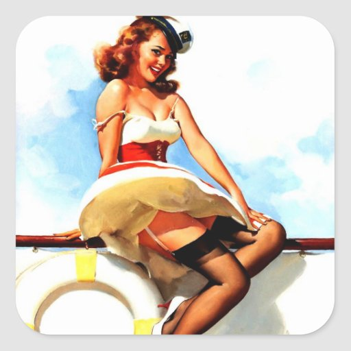 Pin nautique de marin vintage de Gil Elvgren vers Stickers Carrés