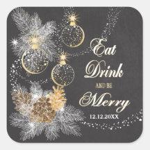 Pinecone verziert Tafel-Weihnachten Quadratischer Aufkleber