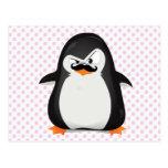 Pingouin blanc noir mignon et moustache drôle cartes postales