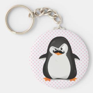Pingouin blanc noir mignon et moustache drôle porte-clefs
