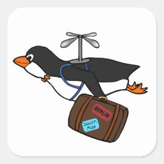 Pingouin de déplacement d'hélicoptère de vol avec sticker carré