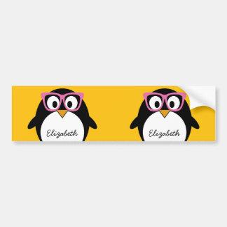 Pingouin de hippie - rose mignon de jaune de bande autocollant de voiture