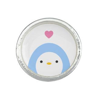 Pingouin en anneau d'amour bagues avec photo