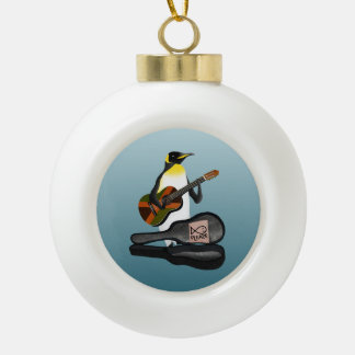 Pinguin Busking Keramik Kugel-Ornament