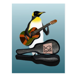 Pinguin Busking Postkarte