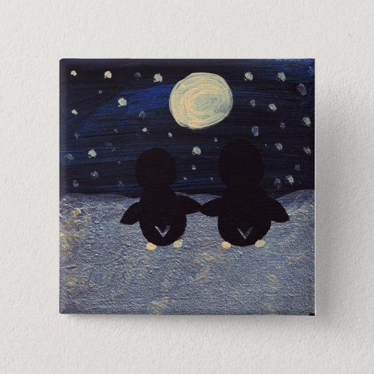 Pinguin durch Mond-Licht-Knopf Quadratischer Button 5,1 Cm