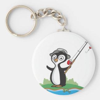 Pinguin-Fischen Standard Runder Schlüsselanhänger
