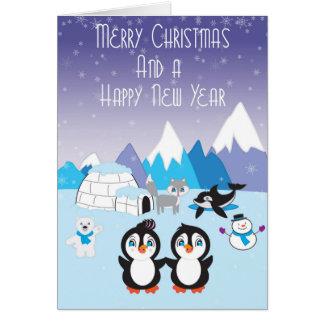 Pinguin-Freund-arktische Weihnachtskarte Karte