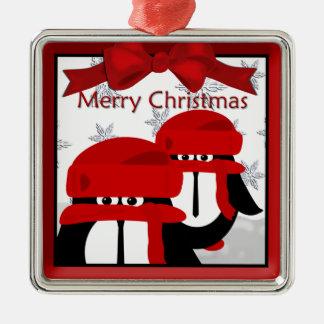 Pinguin-Freund-Weihnachtsprämien-Verzierung Quadratisches Silberfarbenes Ornament