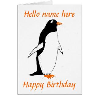 Pinguin-Geburtstags-Karte addieren Namen Karte